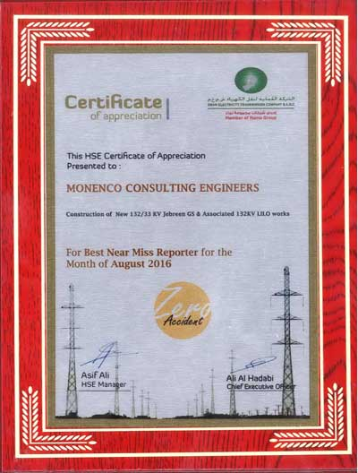 HSE Certificate of Appreciation from Oman Electricity Transmission Company